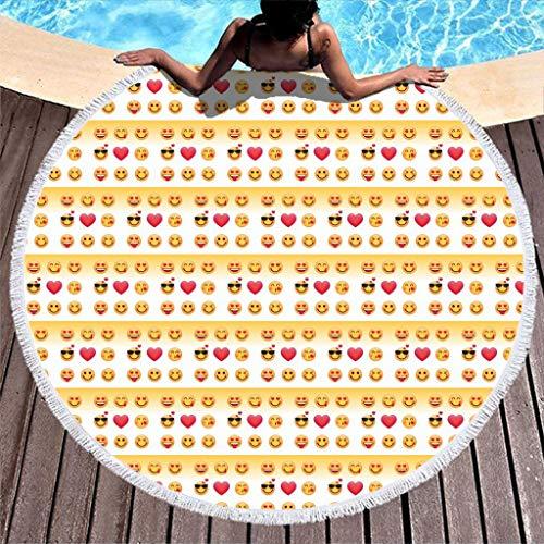 EUNNT Rundes Beach Towel Schnelltrocknend Emoji Schwimmen Yogamatte Picknick Matte Strandlaken Picknick Decke Strandtuch