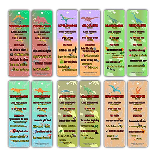 Dinosaur Fun Facts Bookmark Cards for Kids (12-Pack) - Jurassic World Bookmarker - Excellent Party Favors Teacher Classroom Reading Rewards and Incentive Gifts for Young Readers Kids Boys and Girls