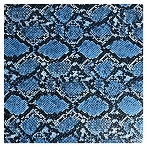 NAKAN 135x100cm Tela de Polipiel por Metros con Patrón de Serpiente, 1mm Espesor Tela de Tapicería de Vinilo para Manualidades, Decoraciones, Sillones Sofá(Color:blue4)