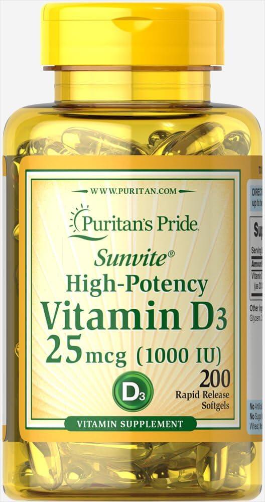 Large special price Puritan's Pride High-Potency Max 56% OFF Vitamin D3 1000 IU 200 Softgels