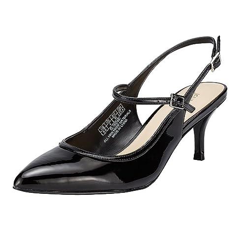 354dd6538b5 JENN ARDOR Mid Kitten Heels Stiletto Pumps Pointed Toe Slingback Dress  Sandals Low Heels Ankle Strap