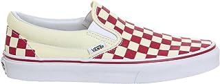 Vans Women's Classic Slip-On Primary Check Skate Shoes Red/White B(M) US