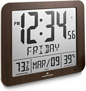 Marathon CL030067WD Slim Atomic Full Calendar Clock with Large 3.25