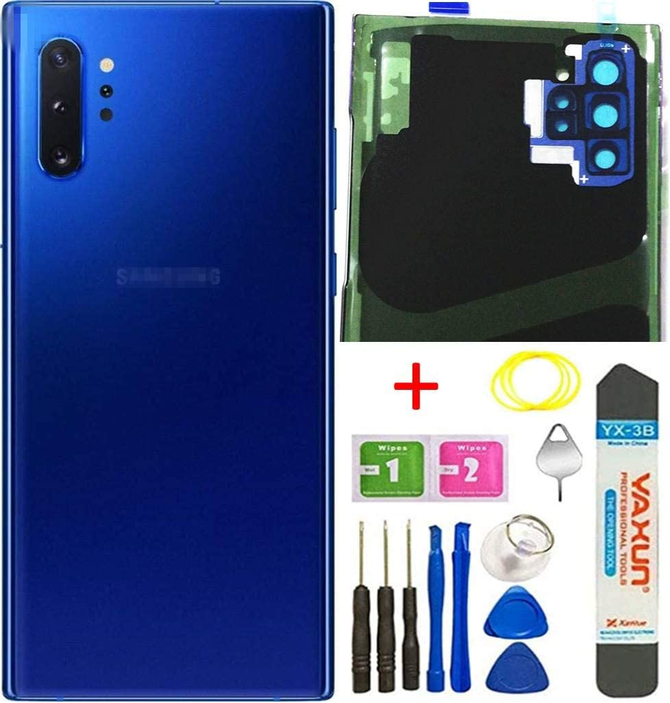 for Samsung Galaxy Note10 Plus, Note 10+, 5G Back Cover Glass Replacement Waterproof Housing Door W/Camera Glass Lens and Tape Parts Tools + Eject Pin + Tools Aura Blue (Aura Blue)