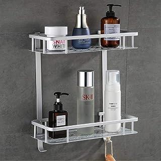 Laimew no perfora el estante del baño estante de ducha pegajoso de aluminio de la grieta de 2 niveles con el gancho colga...