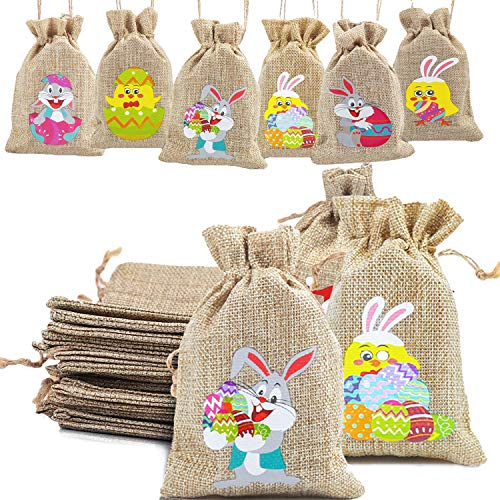 DERAYEE 36Pcs Easter Burlap Candy Bags, Jute Linen Goody Treat Gift Bags Bunny Eggs Chick for Easter Party Favors with Drawstrings