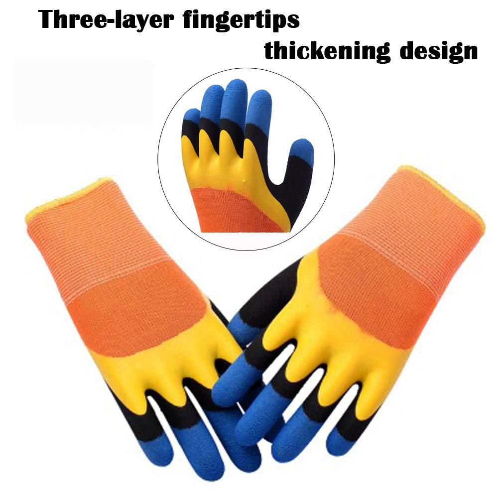 Lavables a M/áquina,Impermeable Guantes de Jardiner/ía,5Pares Guantes de Trabajo a prueba de espinas,protectores de engrosamiento de las yemas de los dedos de tres capas,recubierta de l/átex Guantes
