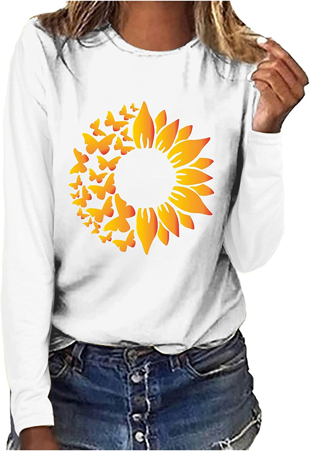 Womens Sunflower outlet Discount mail order Print Round Neck T-shirt Co Casual Long-sleeved