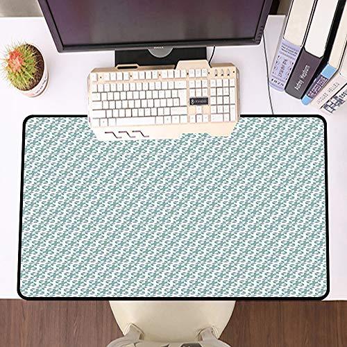 Übergroße Spiel Mauspad -Schreibtischunterlage Large Size,Geometrisch, Würfel mit kleinen Quadraten Dimensionsillusionseffekt Künstlerisch, Reseda Grün Sch,und schnelle Maussteuerung,Gummiunterseite
