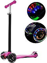 Hikole Kick Scooter para niños 3 Ruedas, niños de Altura Ajustable Scooter para niños y niñas 3-12, luz LED Intermitente Ruedas de PU (Rosa)
