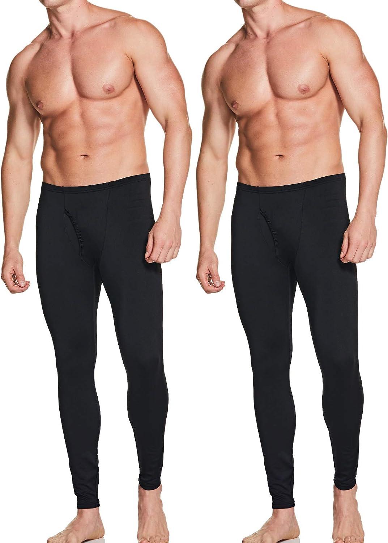 ATHLIO 2 Pack Men's Thermal Underwear Pants, Warm Long Johns Leggings, Winter Base Layer Bottoms