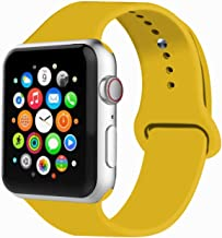 VIKATech Correa de Repuesto Compatible con Apple Watch de 44 mm 42 mm, Correa de Silicona Suave de Repuesto para iWatch Series 4/3/2/1, M/L, Yellow