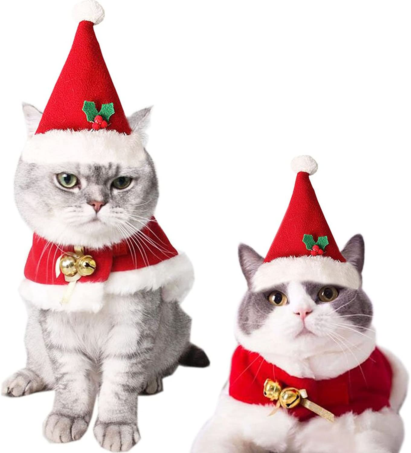 Bolbove Pet Christmas Hat and Santa Claus Cloak with Bells for Cats Puppies Outfit (Small)