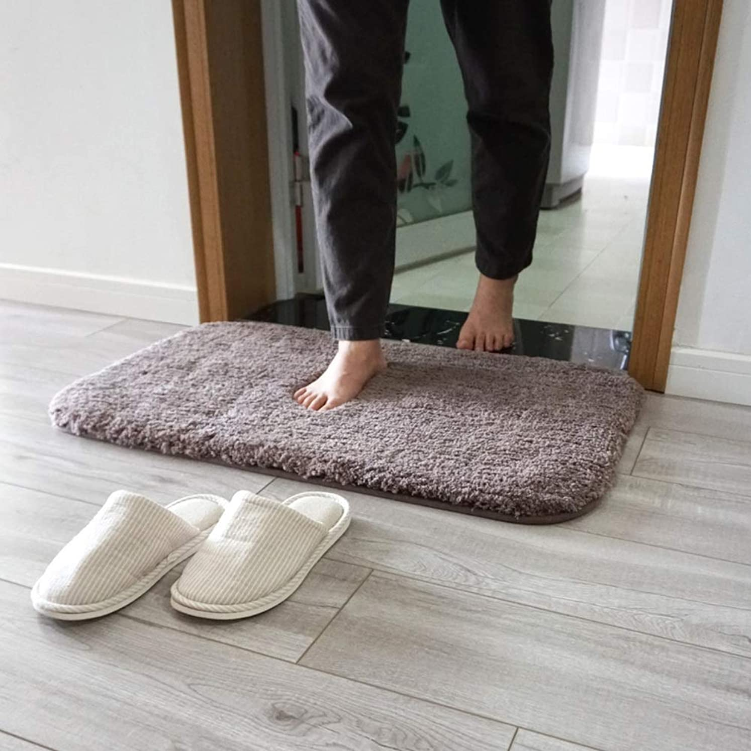 検閲水銀の解放するじゃない-スリップ 吸水 スーパー ソフト 肥厚 バスマット,贅沢 快適な 洗濯可能 の バスルーム-ブラウン 45x70cm(18x28inch)