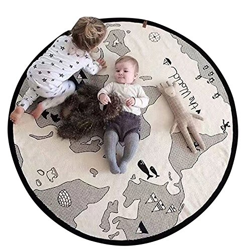 Tapis de jeu de cartes du monde en toile fine douce pour bébé enfant - Tapis de jeu rond - Diamètre 104 cm