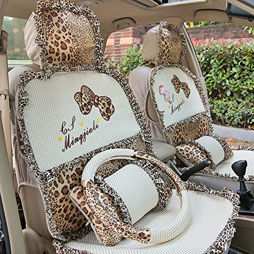 ACHAOHUIXI Breathable 3D Air Mesh Fabric Seat Cover, Universal Five Seat Waterproof/Sweatproof Seat Belt Protector, Best Non-Slip Car Seats Protector, Lace Patchwork Style, for Women