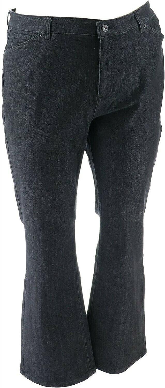 Denim & Co. Perfect Denim Lightly Bootcut Jeans Black Wash 22W New A309771