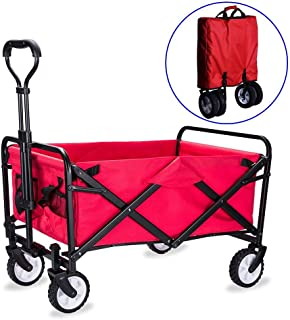 Nfudishpu Folding Camping Cart with Lining - 4 Wheeled Collapsible Festival Trolley, Portable Garden & DIY Waste Wagon – 80KG Capacity,A:Purple