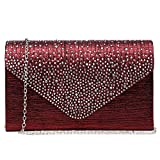 Dasein Ladies Frosted Satin Evening Clutch Purse Bag Crossbody Handbags Party Prom Wedding Envelope (Red)