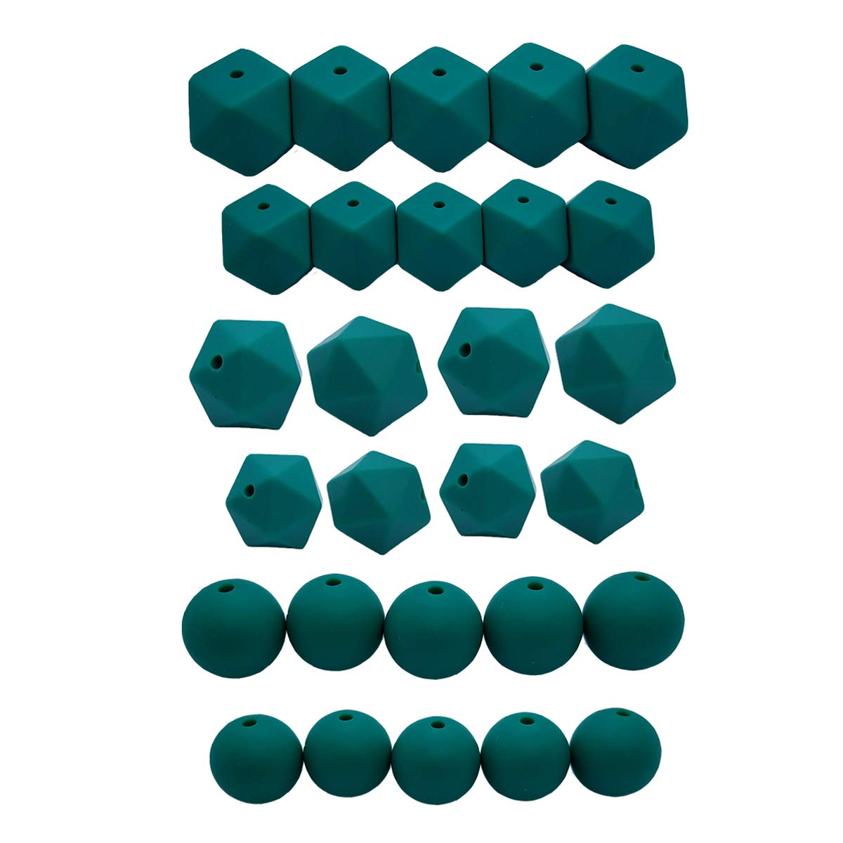 50pcs DIY Silicone Pearl Beads Set 14//17mm Hexagon Icosahedron 12//15mm Round Beads Mom Care Necklace Making Maroon