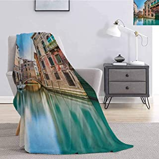 Luoiaax Venice Commercial Grade Printed Blanket Traditional Italian Water Canal Romantic Cityscape Famous Travel Destination Queen King W70 x L84 Inch Teal Red Grey