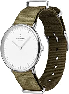 Nordgreen Native Scandinavian Silver Unisex Analog 40mm (Large) Watch with Army Green Nylon Strap 10016