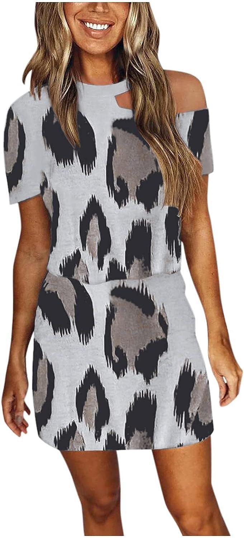 Womens Romper Dresses Leopard Print Tunic Dress Hollow Sundress High Waist Splicing Mini Dress Short Sleeve T-Shirt Dress