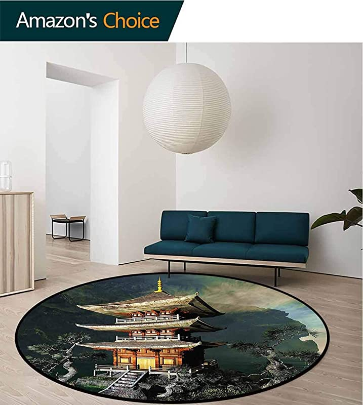 RUGSMAT Ancient China Round Area Rug Mountains Tree Forest Protect Floors While Securing Rug Making Vacuuming Diameter 59