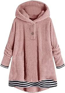 Plus Size Sweater Hoodie for Women,Winter Warm Fleece Striped Printing Button Hem Hoodie Top Loose Sweater Blouse