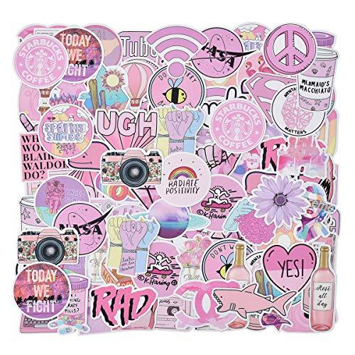 QIMMU Aufkleber Mädchen Rosa,Aufkleber für Wasserflaschen Wasserdicht Vinyl Stickers für Laptop Skateboard Auto Motorrad Fahrrad PS4 Koffer Snowboard iPhone 106pcs