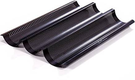 Premium Metallic Perforated Baguette Pan - Best Non-stick,  Deluxe Baking Pan by Saint Germain Bakery