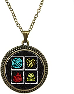 SunShine Day Fashion Necklace Avatar Last Airbender 4 Nations Fire Water Air And Earth On One Pendant Necklace Glass Cabochon Necklace A3960
