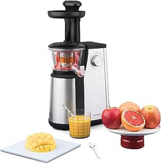 H.Koenig Extracteur de Jus de Fruits et Légumes Vertical GSX12 Noir/INOX Centrifugeuse Vitamin + sans BPA-82 mm Large Bouc...