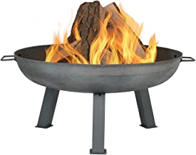 Sunnydaze 30 Inch Fire Pit Bowl - Large Outdoor Bonfire Wood-Burning Pit- Steel Colored Cast Iron - for Outdoor Patio & Ba...