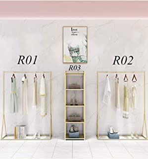 Modern Lady Gold Clothing Racks Gorgeous Floor Standing Garment Clothes Display Rack Hanging Clothes Display Shelves for Cloth Store Bedroom