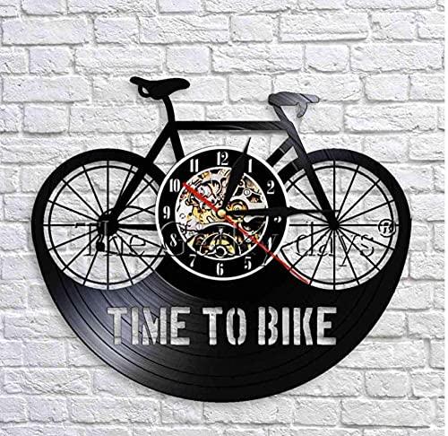Vinyl-Schallplatten-Wanduhr Time to Bike Wanduhr Retro Vinyl Uhr schwarz hängende Wanduhr Fahrrad Schatten Kunst Dekorative 3D Wanduhren Dekor 30,5 cm
