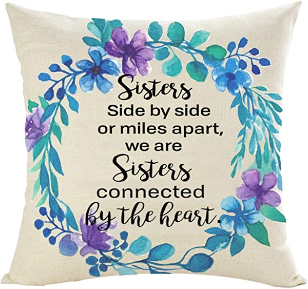 Jimrou Throw Pillow Cover 18x18inches Festival To Sister Best Friends Side By Side Or Miles Apart Quote Blue Flowers Cotton Linen Decorative Home Sofa Chair Car Square Throw Pillow Case Cushion Cover
