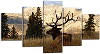 Nature Calligraphy Animal Scenery Deer Elk Wall Art Canvas Prints Art Home Decor for Living Room Poster Abstract Pictures Pictures 5 Panel Large HD Printed Painting Framed Ready to Hang