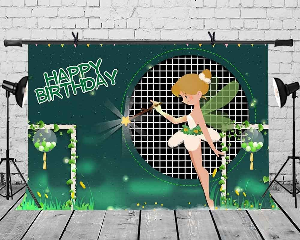 15x10ft Vinyl Happy Birthday Background Elf Green Wings Background for The Birthday Party Photography Background Interior Decoration Background Props LYZY0639 for Party Decoration Birthday YouTube Vid