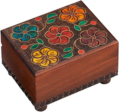 Polish Handmade Wood Secret Trick Floral Box Linden Wood Keepsake