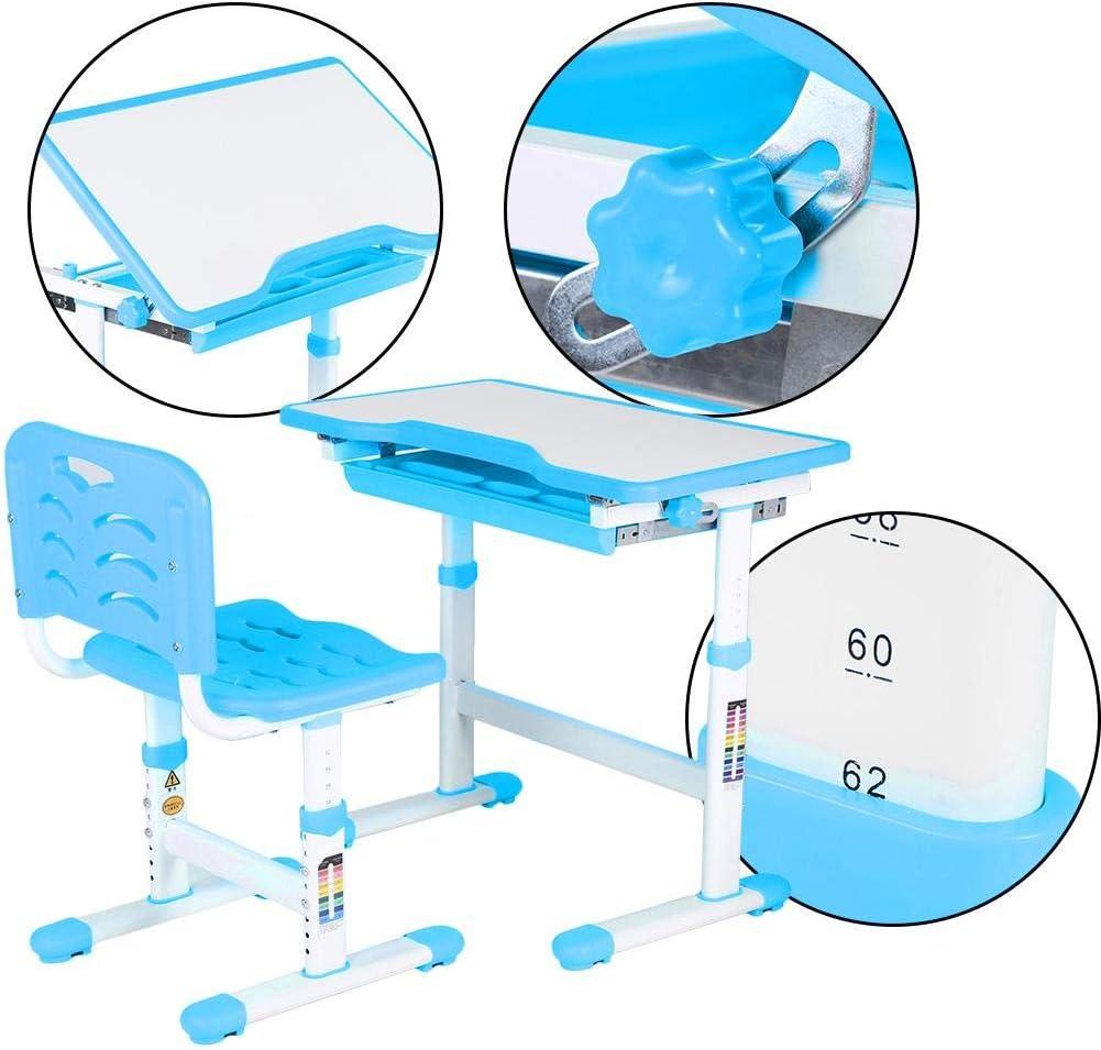 Cikonielf Schreibtisch-Set f/ür Kinder ergonomischer Sitz und R/ückenlehne h/öhenverstellbar mit ausziehbarer Schublade Blau rutschfester Fu/ß 0 ~ 45 /° verstellbar