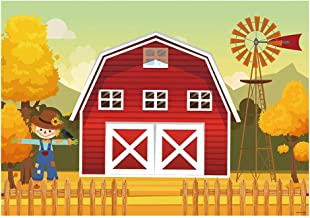 Funnytree 7x5FT Autumn Red Barn Farm Photography Backdrop for Baby Child 1st Birthday Barnyard Photo Background Fall Windmill Scarecrow Little Farmer Party Banner Photo Booth Photocall