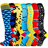 ACTINPUT 3/7 Pares Calcetines de compresión para Mujeres y Hombres 20-25 mmHg es el Mejor atlético, Correr,Escalar Montaña,Vuelo, Viajes, Enfermeras, Edema (Assorted 12-7 Pares, S-M)
