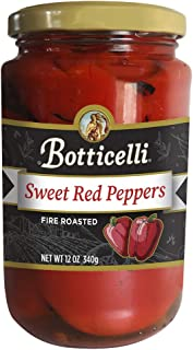 Botticelli Fire Roasted Sweet Red Peppers. Fire Roasted and Marinated, Great for Sauces, Pasta, Sautéing and for Toppings. Made in Small Batches with Natural Ingredients (12oz/340g)