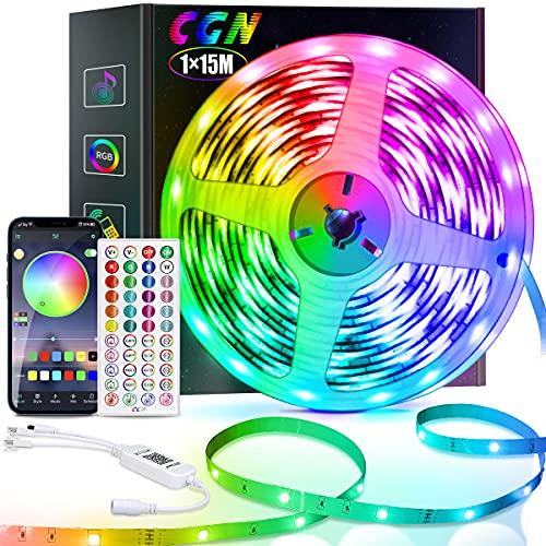 LED Strip 15M, CGN LED Streifen Bluetooth RGB 5050 Smart LED Lichtleiste Selbstklebend mit Fernbedienung und APP Steuerung Musik/Sound Sync Beleuchtung Decoration Ambient für Zuhause und Festival
