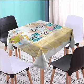 Zara Henry Design Alice in Wonderland Modern Square Tablecloth,Famous Scene Square Tabletop Decoration, W45 x L45 Inch