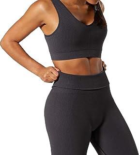 Women 2 PCS Workout Set Seamless Super Soft Deep V Neck Bra+Leggings Set Yoga Outfits Sports Clothing