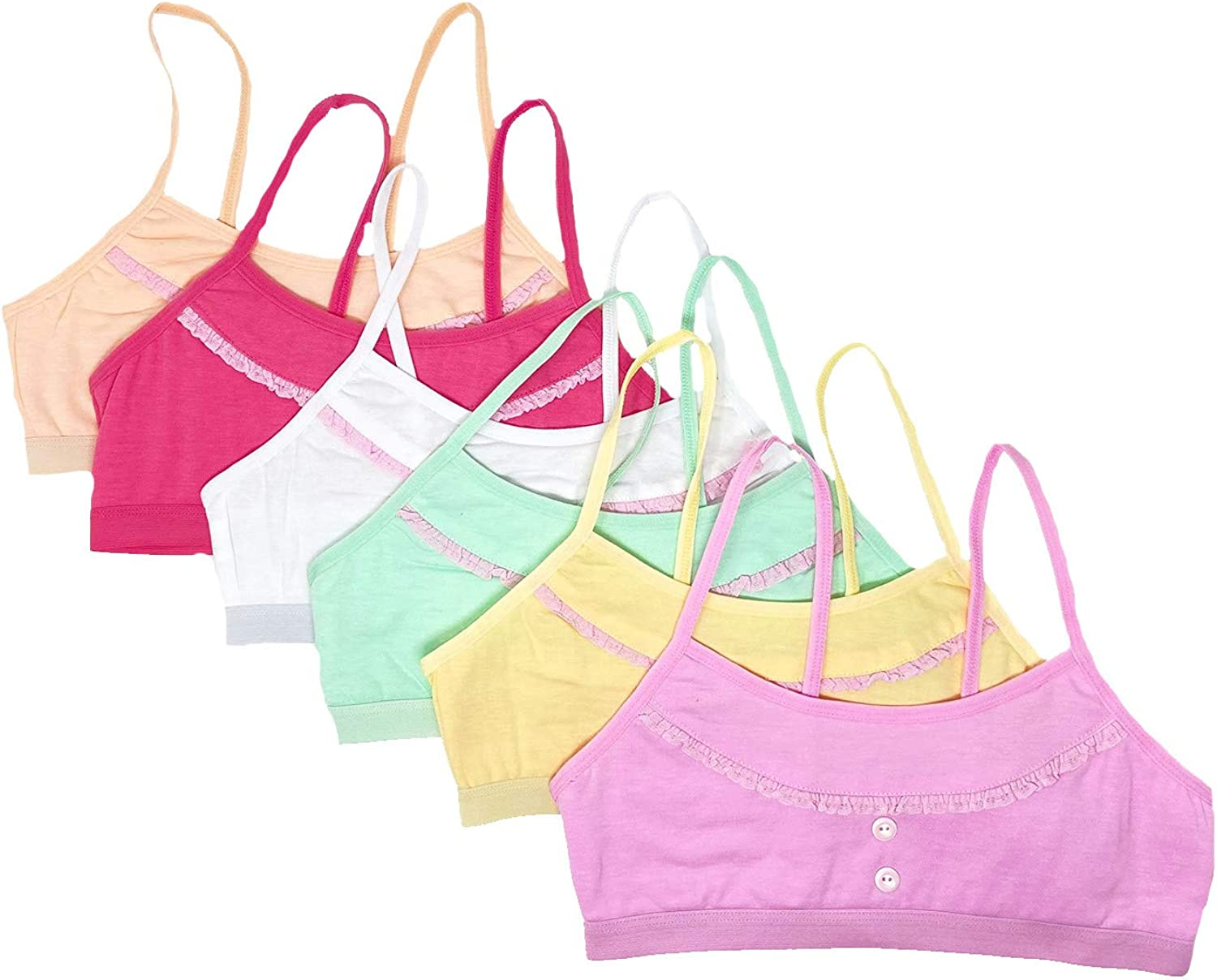 I&S Girl's Spaghetti Adjustable Straps Cute Comfortable Training Bras - Pack of 6 Bras