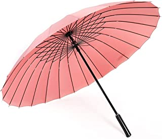 Household Long Handle Umbrella Large Folding Umbrella Business Weather Umbrella Outdoor Umbrella Multi-Color Optional HYBKY (Color : Pink)