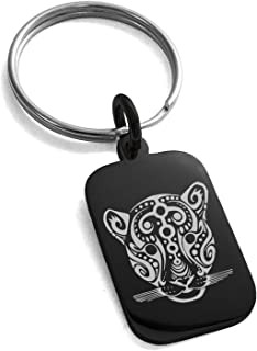 Stainless Steel Mayan Jaguar Rune Symbol Small Rectangle Dog Tag Charm Keychain Keyring